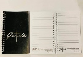 Caderneta com pauta ,palavra GRATIDÃO (preto)