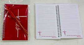 kit caderneta palavra Jesus( rosa) com caneta