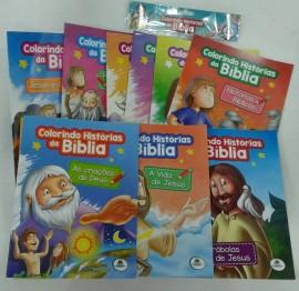 COLORINDO HISTÓRIAS DA BÍBLIA,KIT COM 10 PÇS