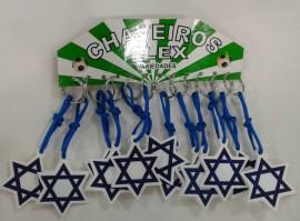 Chaveiro  borracha estrela de Davi,com 12 pçs