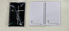 kit caderneta palavra Jesus( preto) com caneta