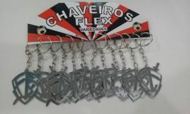 Chaveiro Chapinha Escudo da fé vazado,c/12 pçs