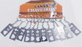 Chaveiro chapinha Cruz =coração,com 12 pçs