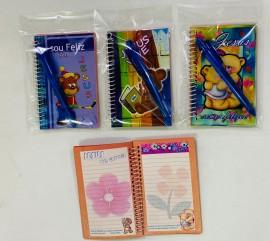 kit caderneta (ursinho) com caneta