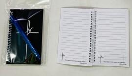 kit caderneta palavra fé ( preto) com caneta